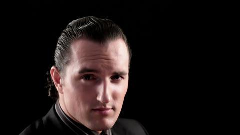 businessman portrait on black background Footage