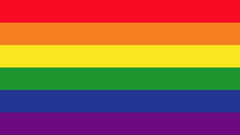 Gay flag with description Animación