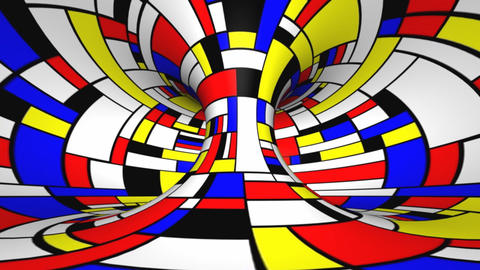 Twisted rotation - Mondrian style Animation
