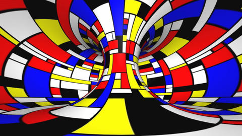 Twisted rotation - Mondrian style Stock Video Footage