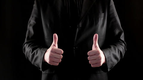 Businessman hand showing thumb up Stock Video Footage