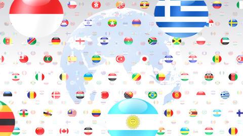 World Flags W Fce Stock Video Footage