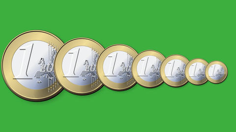 Euro coin gradual shrinking on a green screen decl Footage