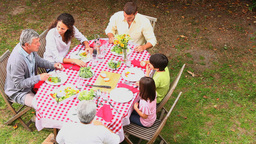 Family eating outdoors Footage