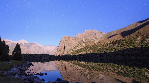 Lake in the moonlight. TimeLapse. Pamir, Tajikista Footage