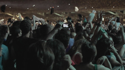 Huge Crowd People Music Concert Throwing Clothes I stock footage