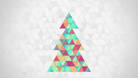 christmas tree shape of colorful triangles loop Animation