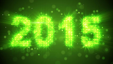 new year 2015 greeting glowing green particles loo Animation