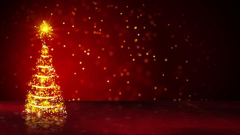 orange christmas tree of glowing particles loop Animation