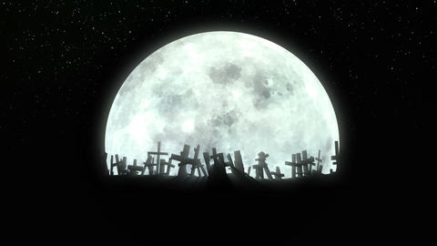 Spinning cemetery around the shining moon Animation