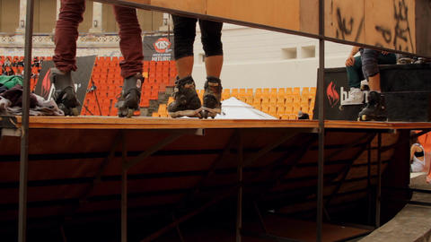 Roller Skates Feet Detail On A Ramp, Extreme Sport Footage