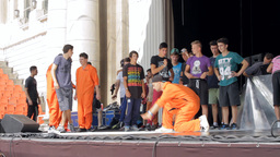 B Boy Dance Contest, People Warming Up For Battle stock footage