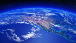 Earth Rotating Over North America With Clouds Movi stock footage
