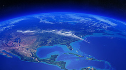Earth rotating over North America with clouds movi Animation