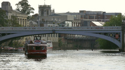 Tourist Boat On River Ouse stock footage