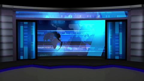 News TV Studio Set 12 Virtual Green Screen Backgro stock footage