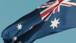 Australian Flag Flying Backwards Footage