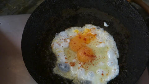 Egg Frying In An Indian Kitchen stock footage