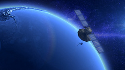Artificial Satellite Orbiting The Earth Stock Video Footage