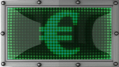 euro announcement on the LED display Stock Video Footage