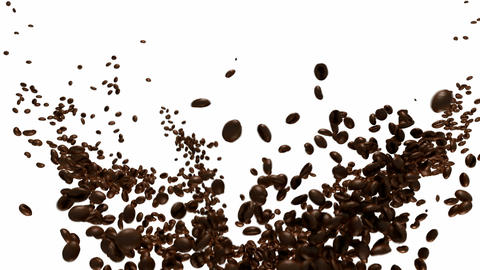 Coffee beans flow with slow motion over white Stock Video Footage