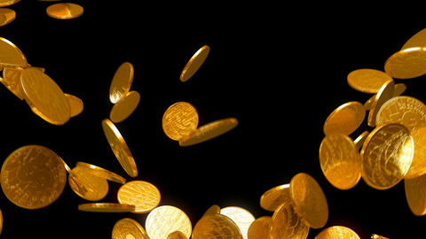 Y-shaped coins flow with slow motion. Wealth and money Animation