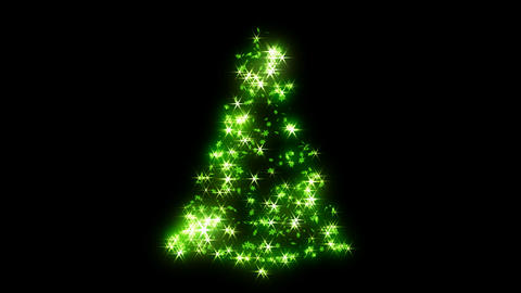 Loopable Rotating green sparkles shape of Christmas tree Stock Video Footage