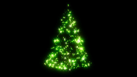 Loopable Rotating green sparkles shape of Christmas tree Animation