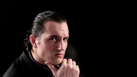 businessman portrait on black background Stock Video Footage