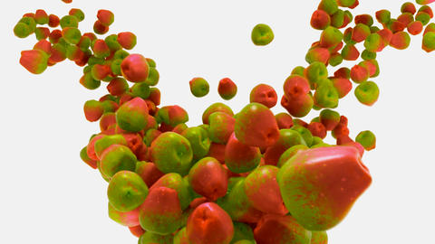 Red and green Apple flow with slow motion over white Stock Video Footage