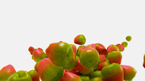 Red and green Apple flow with slow motion over white Animation