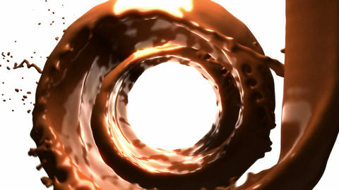 Hot chocolate whirlpool with slow motion over white... Stock Video Footage