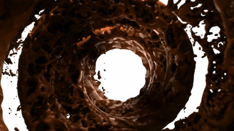 Hot chocolate whirlpool with slow motion over white background Animation