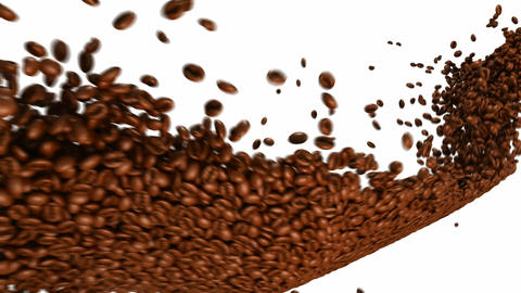 Coffee beans flow with slow motion over white Animation