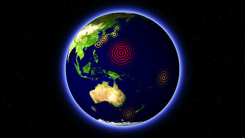 Eartquake Tsunami Map 02 Stock Video Footage