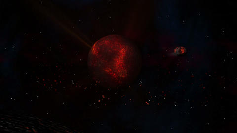 Lava Planet with Sun & Meteor Stock Video Footage