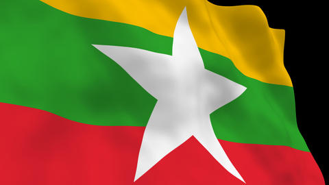 National Flag B087b MMR Myanmar Stock Video Footage