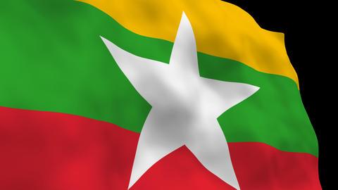 National Flag B087b MMR Myanmar Stock Video Footage