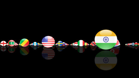 World Flags 3MFcm Stock Video Footage