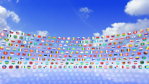 World Flags 3RScs Stock Video Footage