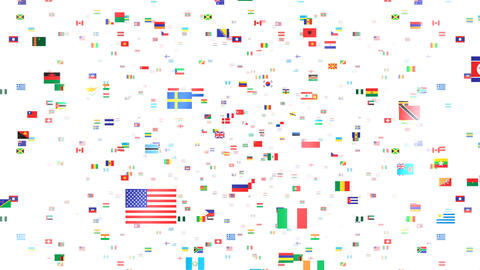 World Flags 3SFbw Stock Video Footage
