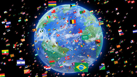 World Flags 3SRbe Stock Video Footage