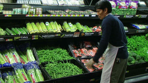 Man Inspecting Green Beans In Produce Stock Video Footage
