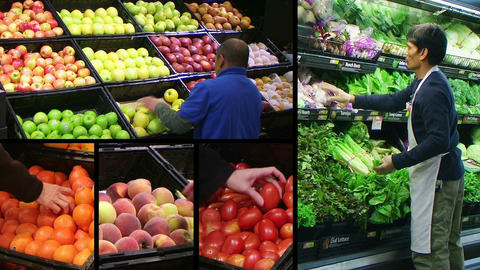 Produce Market Composite Stock Video Footage