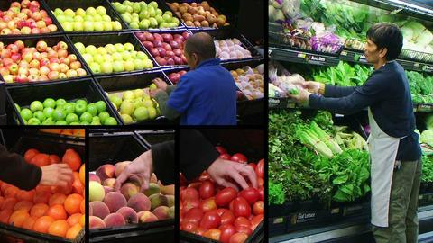 Produce Market Composite Stock Video Footage