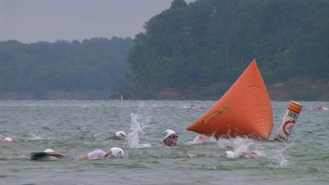 Swimmers Racing In Triathlon 02 Stock Video Footage
