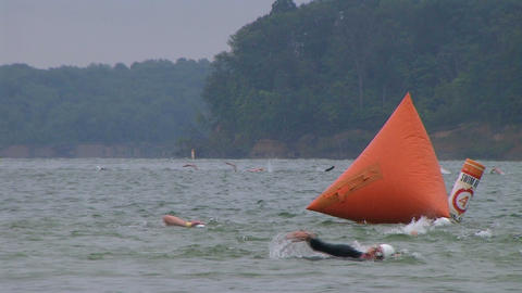 Swimmers Racing In Triathlon 02 Footage