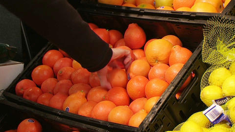 Woman Selecting Oranges In Produce Stock Video Footage