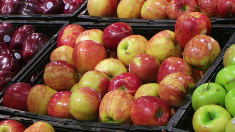 Woman Selecting Apples In Produce Stock Video Footage