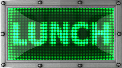 lunch announcement on the LED display Stock Video Footage